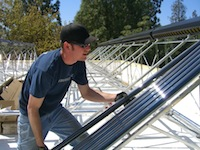 Apricus solar collector installation process in California