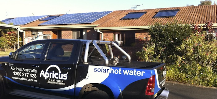Apricus solar hot water service and delivery car