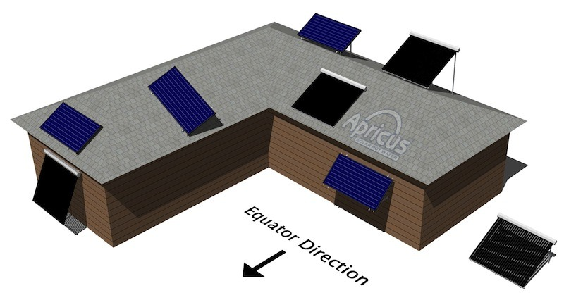 Apricus solar water roof mounting position diagram