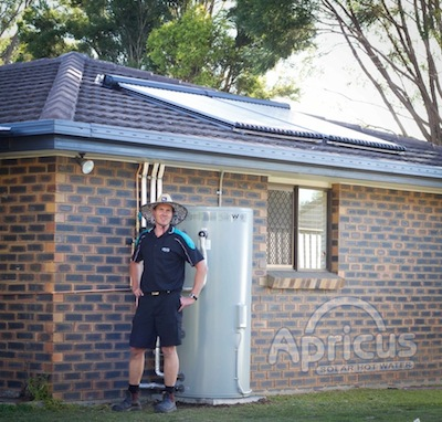 Apricus solar collectors for hot water installed by professionals