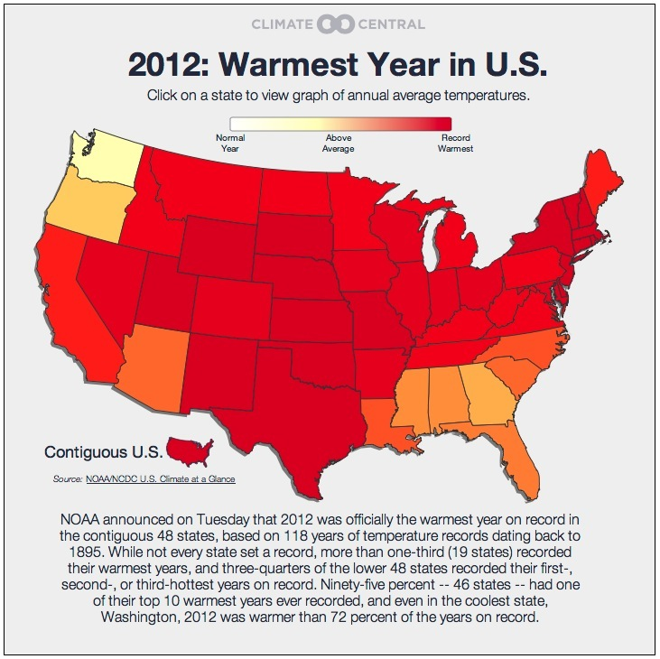 2012 Hottest year on record for 48 US states