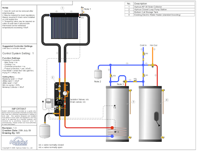 Apricus solar thermal hot water system schematics and drawings
