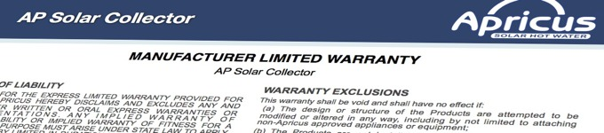 Apricus solar water heater limited warranty